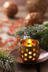 burning christmas lanterns and decoration