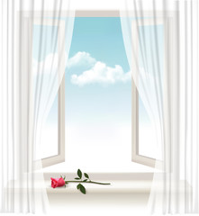 Background with an open window and a red flower. Vector.