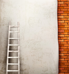 Vintage brick wall background with wooden ladder. Vector