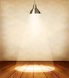 Old room with wooden floor and a spotlight. Vector.