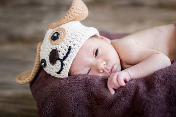 funny sleepy cute newborn baby