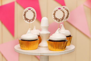 holiday buffet with cupcakes and place for text