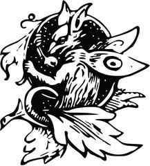 Vintage Fairy Fox Clip Art