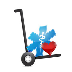 medical symbol and heart on a dolly.