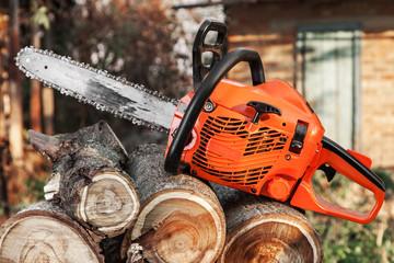 Orange chainsaw