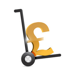 british pound currency symbol on a dolly