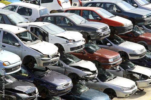 many cars destroyed in the workshop car demolition