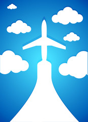 airplane and clouds illustration design