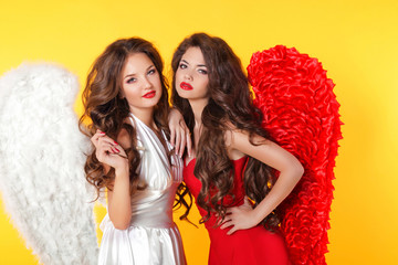 Glamorous fashion brunette angel girl with angel's wings. Valent