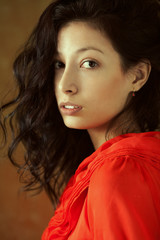 Spanish beauty named Esmeralda. Emotive portrait of brunette