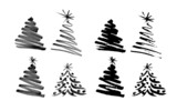 Photo: Hand sketch Christmas tree. Vector illustration