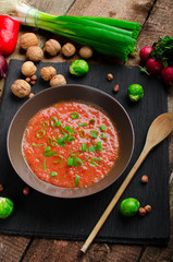 Hot salsa tomato with spring onion and red pepper