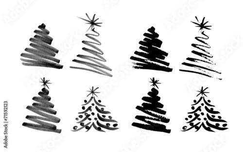 Hand sketch Christmas tree. Vector illustration - 71592123