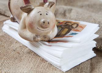 cochon-tirelire sur liasse de billets