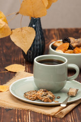 Autumn Concept. Cup Of Tea Or Coffee. Dried Fruits. Cookies With