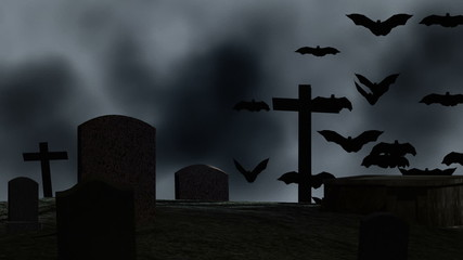 Night cemetery with  graves and bats. Halloween.
