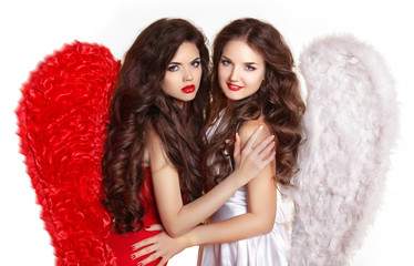 Beauty fashion brunette girls wearing in angel costume with wing