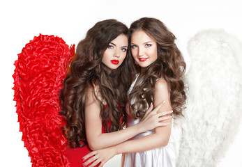 Beautiful Angel girl with angel's wings. Fashion women with long