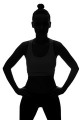 Silhouette of young with hands on hips