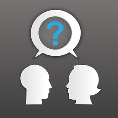 Man and woman head shapes with question mark