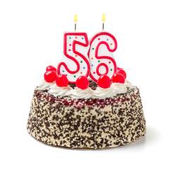 Geburtstagstorte mit brennender Kerze Nummer 56