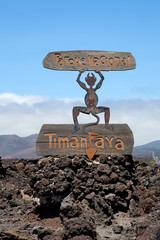 Devil sign by entrance Timanfaya National Park in Lanzarote
