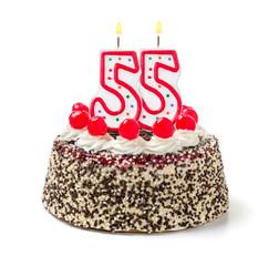 Geburtstagstorte mit brennender Kerze Nummer 55