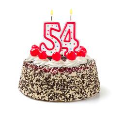 Geburtstagstorte mit brennender Kerze Nummer 54
