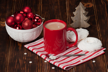 Hot Chocolate Drink. Christmas Sweets And Decorations. Wooden Ba