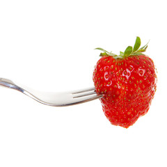Fork with fresh strawberry