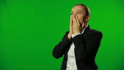 Woman having headache. FULL HD, green screen