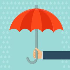 Vector insurance agent holding umbrella