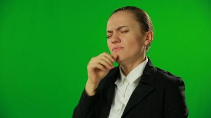 Ill businesswoman, green screen.FULL HD