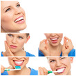 canvas print picture - Dental care woman. Teeth whitening, cleaning and treatment