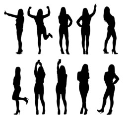 Collection of business woman silhouettes