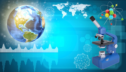 Earth, microscope and model of molecule. Science concept