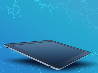 mobile tablet with a glossy screen on an abstract background.