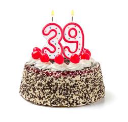 Geburtstagstorte mit brennender Kerze Nummer 39