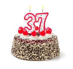 Geburtstagstorte mit brennender Kerze Nummer 37