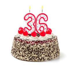Geburtstagstorte mit brennender Kerze Nummer 36