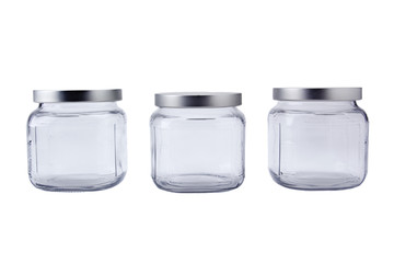 Empty jars with aluminum lids
