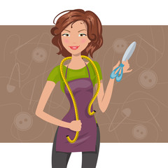 woman seamstress with scissors and meter. Vector illustration