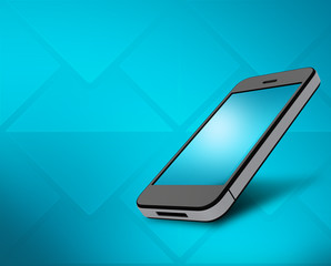 mobile phone with a glossy screen on blue background.