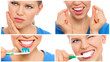 canvas print picture - Teeth cure, care and protection. Teeth bleaching.