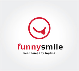 Abstract funny smile vector logo icon concept. Logotype template
