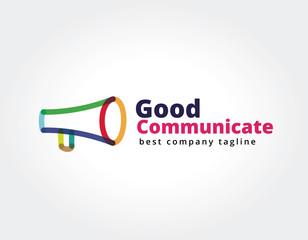 Abstract megaphone vector logo icon concept. Logotype template