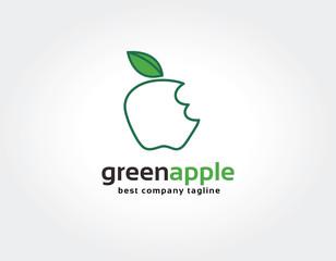 Abstract bitten green apple vector logo icon concept. Logo