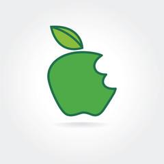 Abstract bitten green apple vector icon concept. Logo template