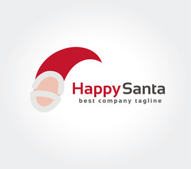 Abstract Santa face vector logo icon concept. Logotype template