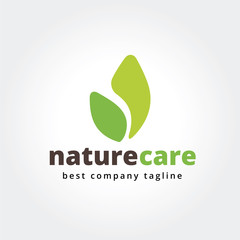 Abstract nature leafs care vector logo icon concept. Logotype